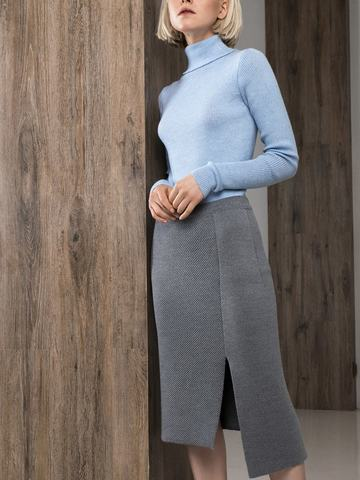 Асимметричная юбка прямого силуэта фактурной вязки - фото 5