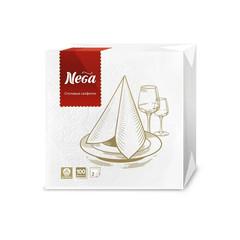 Салфетки бумажные Nega 24x24 см белые 2-слойные 100 штук в упаковке
