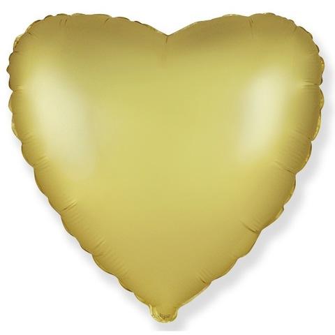Шар сердце Золото сатин, 45 см