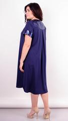 Стефанія. Святкова сукня великих розмірів. Синій+синій.