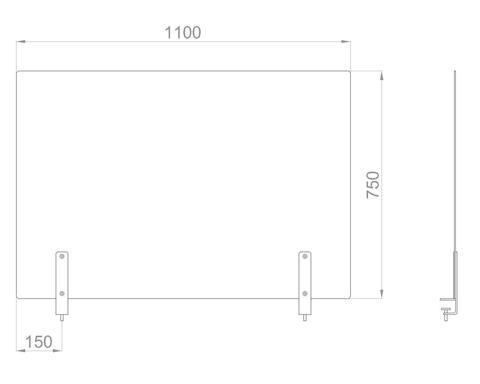 Настольный экран на струбц. Ш.1100мм В.600/750мм