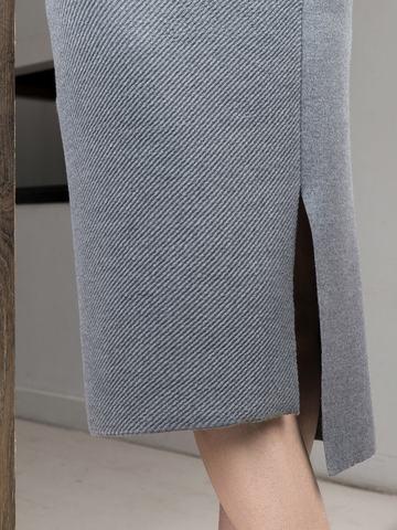 Асимметричная юбка прямого силуэта фактурной вязки - фото 7