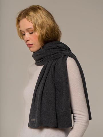 Женский шарф темно-серого цвета из 100% кашемира - фото 1