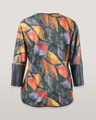 Блузка Katex туника листья трикотаж кож.отделка