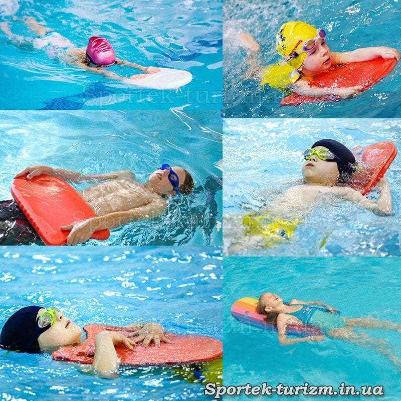Варианты применения досок для обучения плаванию