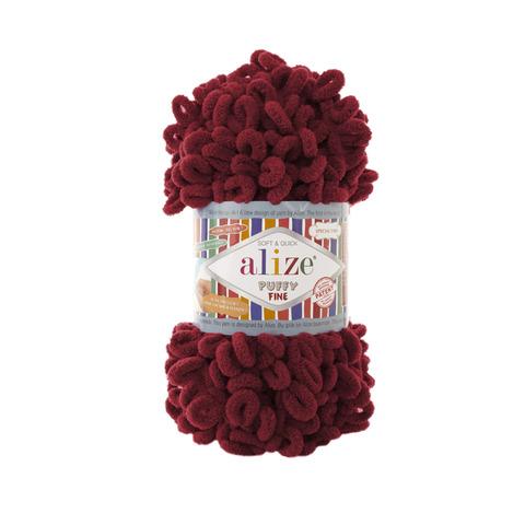 Купить Пряжа Ализе Пуффи Файн Цвет 107 Вишня | Интернет-магазин пряжи «Пряха»
