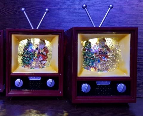 Новогодний музыкальный  сувенир  снежный шар Телевизор