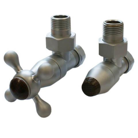 Комплект клапанов с ручной регулировкой Форма угловая Сатин, с деревом. Для стали GZ 1/2 x GW 1/2