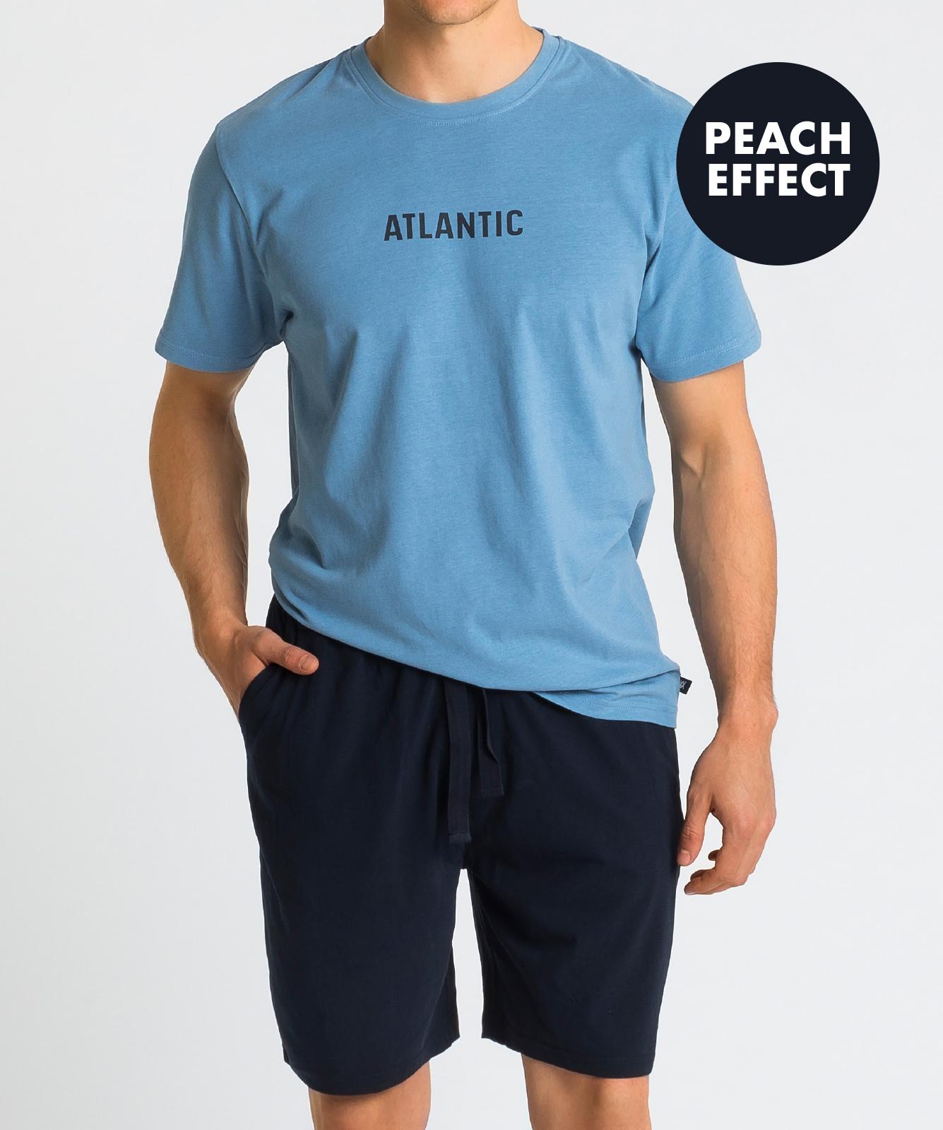 Мужская пижама Atlantic, 1 шт. в уп., хлопок, голубая, NMP-346