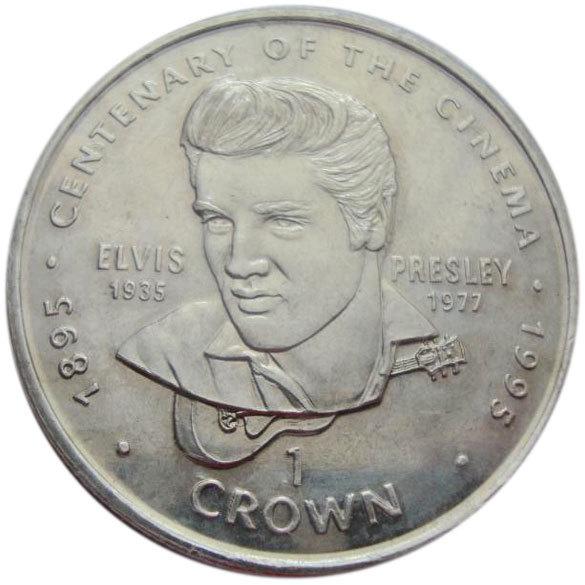 1 крона. Элвис Пресли 100 лет кино. Гибралтар. 1996 год