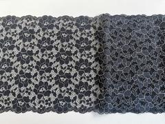 Эластичное кружево, ОПТ 22,5 см, черное с бежевой кордовой нитью, (Арт: EK-2014), м