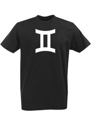 Футболка с однотонным принтом Знаки Зодиака (Близнецы) черная 002