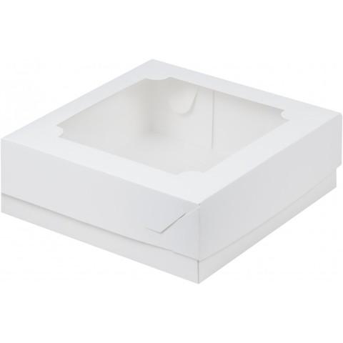 Коробка под зефир и печенье с окном, 20*20*7см, белая