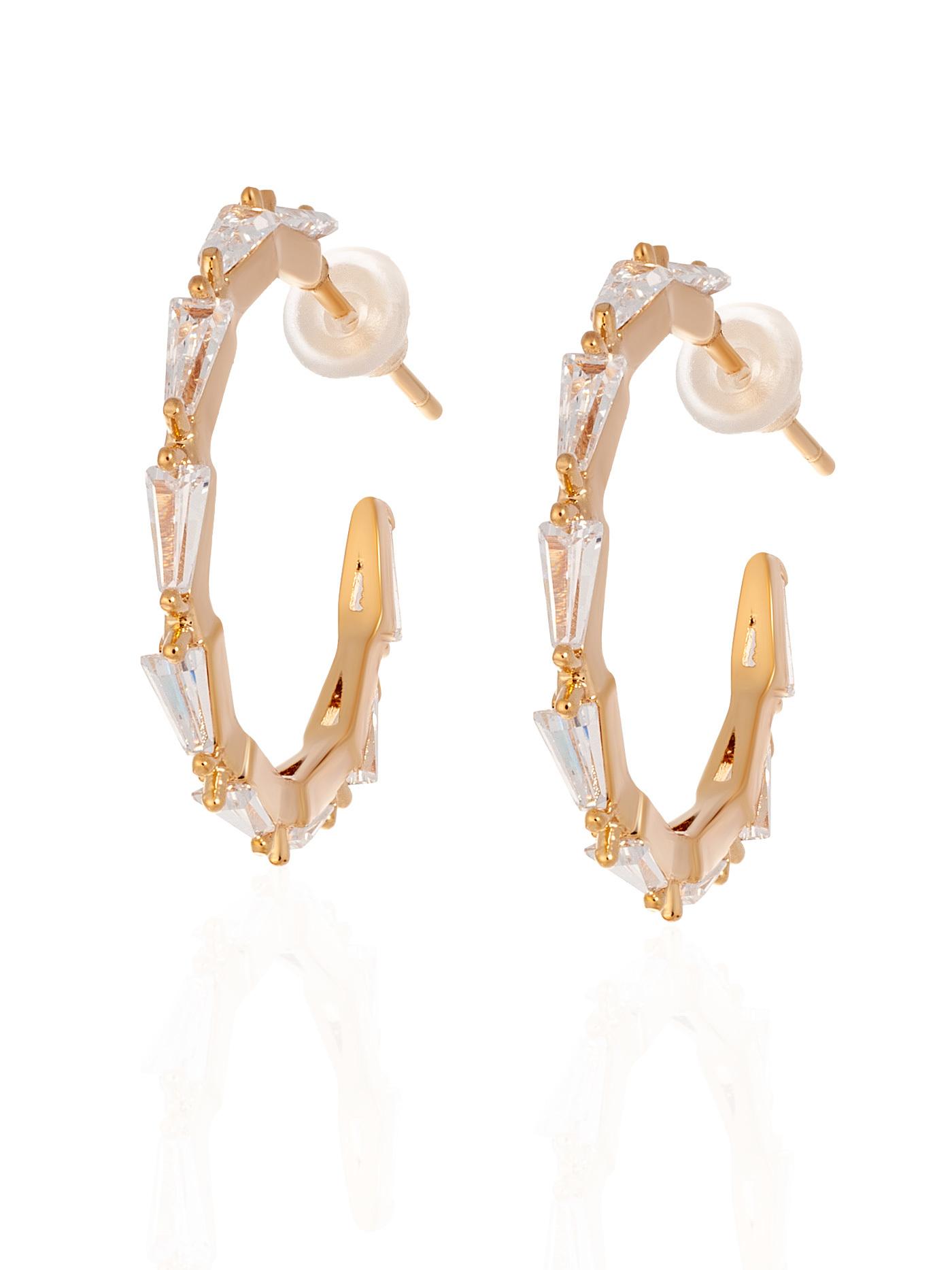 Стильные вечерние серьги-кольца с кристаллами в подарочной коробке
