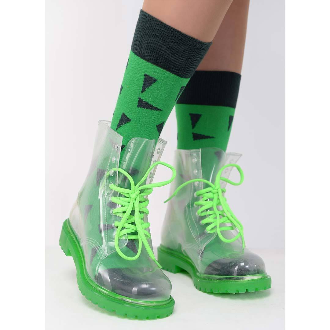 Прозрачные резиновые ботинки женские Invisible-Shoes зеленые