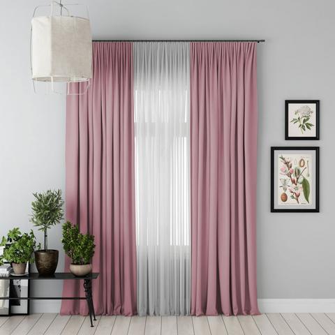 Комплект штор и тюль Джина блэкаут розовый