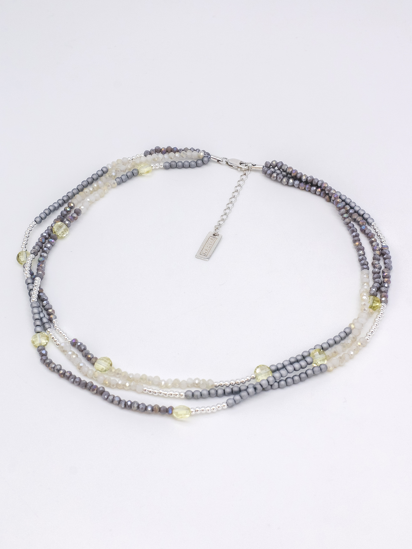 Многослойный браслет из серо- и жёлто-перламутрового мелкого хрусталя с серебром и серыми матовыми бусинами  оптом и в розницу