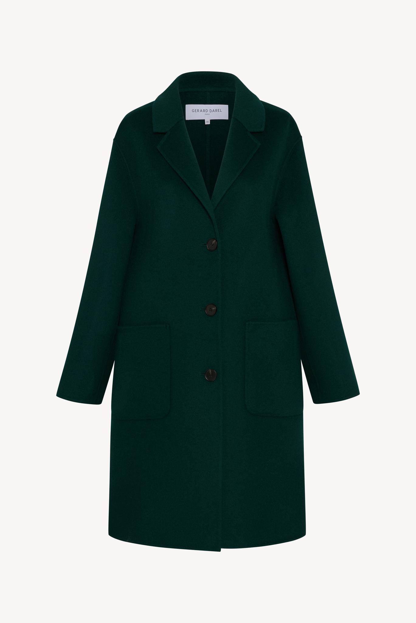 Шерстяное пальто с отложным воротником