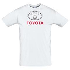 Футболка с принтом Тойота (Toyota) белая