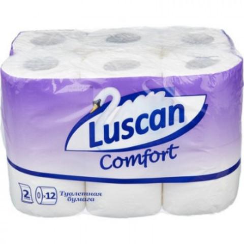 Бумага туалетная Luscan Comfort 2-слойная белая (12 рулонов в упаковке)