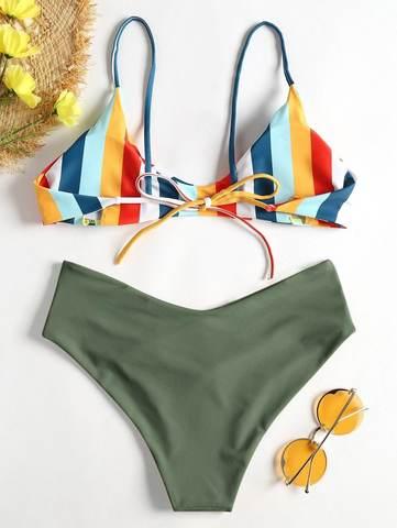 купальник зеленый радуга с завышенной талией раздельный Green Rainbow 2