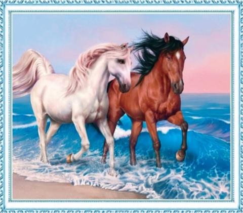 Алмазная Мозаика 50x65 Белый и коричневый конь на берегу моря