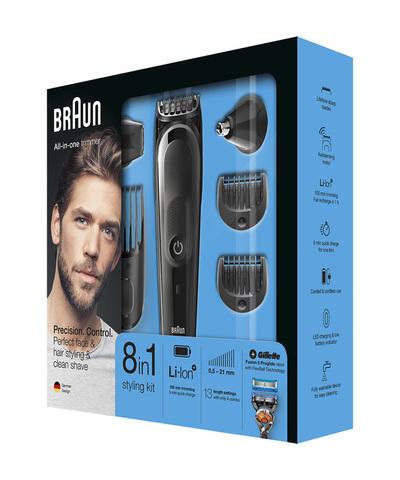 Триммер Braun MGK5060 + Бритва Gillette, аккум, 6 насадок,  черный