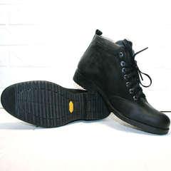 Зимние классические мужские ботинки на толстой подошве Luciano Bellini 6057-58K Black Leathers & Nubuk.