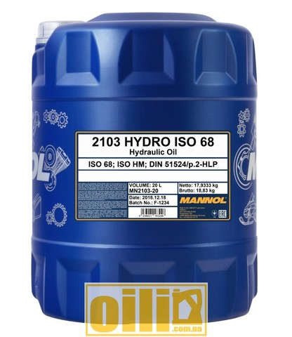 Mannol 2103 HYDRO ISO 68 20л
