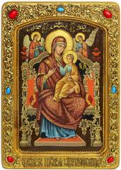 Живописная инкрустированная икона Божией Матери «Всецарица (Пантанасса)» 42х29см на кипарисе в березовом киоте