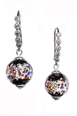Серьги из муранского стекла со стразами Allegra Arlecchino Silver