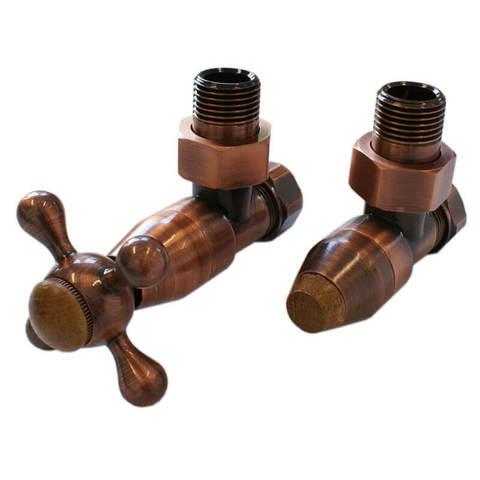Комплект клапанов с ручной регулировкой Форма угловая Медь Антик, с деревом. Для пластика GZ 1/2 х 16х2