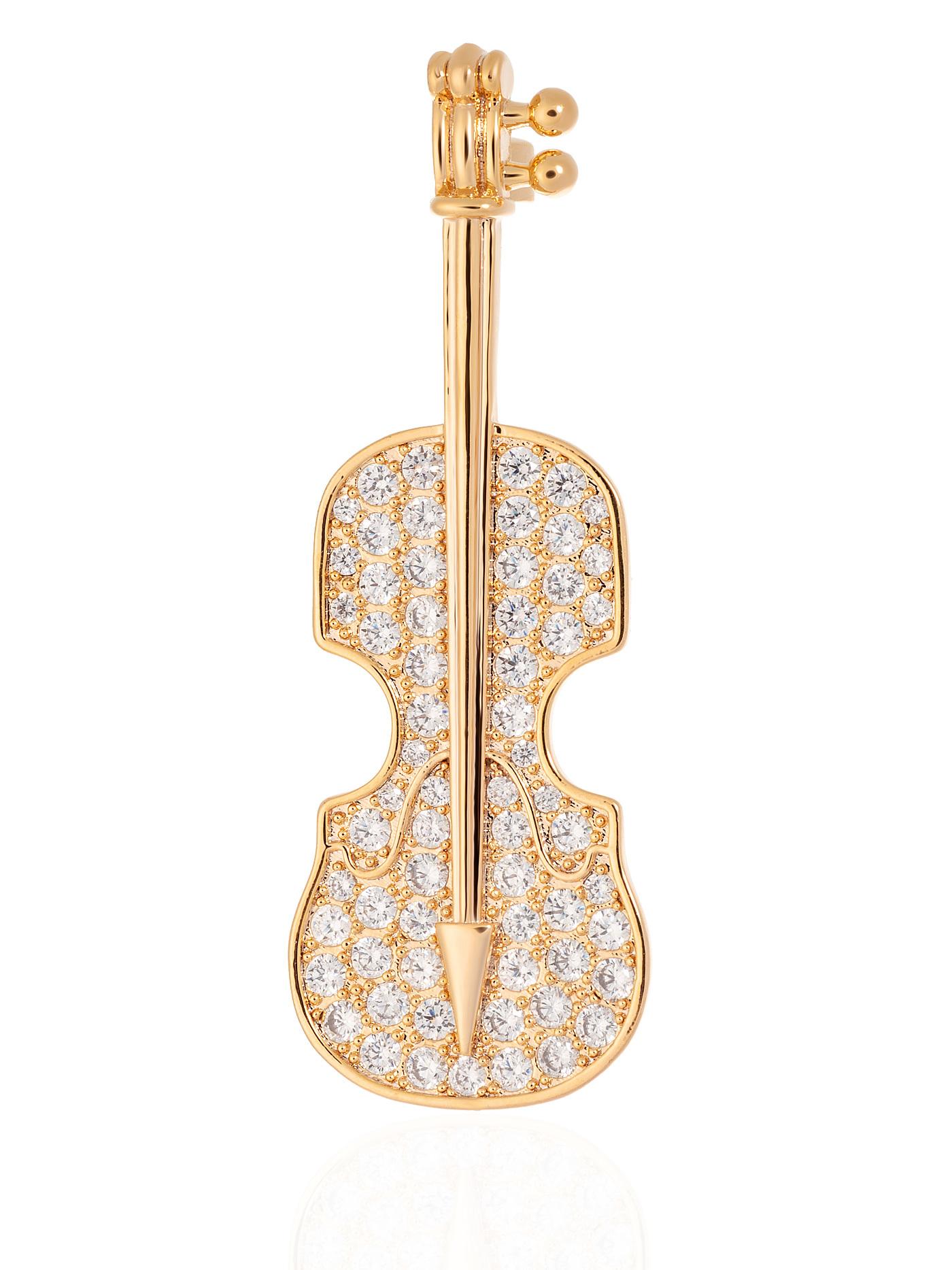Брошь Виолончель с фианитами