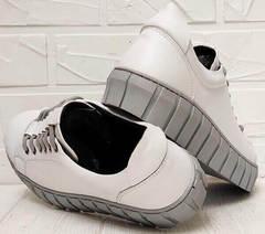 Белые кожаные кеды кроссовки женские на высокой подошве Guero G146 508 04 White Gray.