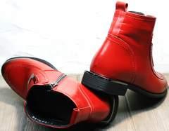 Ботильоны ботинки женские красные демисезонные Evromoda 1481547 S.A.-Red