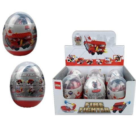 Конструктор в пластиковом яйце познавательный пожарная охрана, 1кор*60бл*6шт