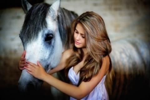 Алмазная Мозаика 30x40 Девушка гладит лошадь (арт. GB70573)