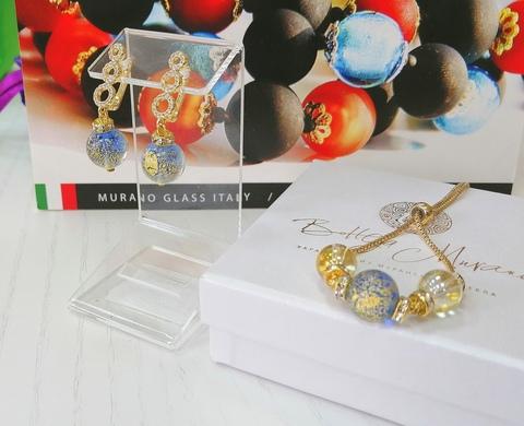 Комплект из браслета и серег со стразами Sandra Ca'D'oro Sapfir Gold 056O