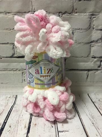 Пряжа ALIZE PUFFY COLOR №5863 розово-белый