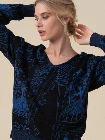Женский джемпер черного цвета с принтом - фото 4