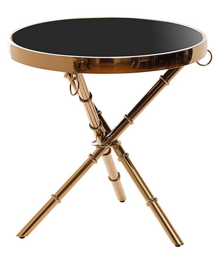 Стол журнальный 13RX6035-GOLD стекло черн./роз.золото 50*50*50см