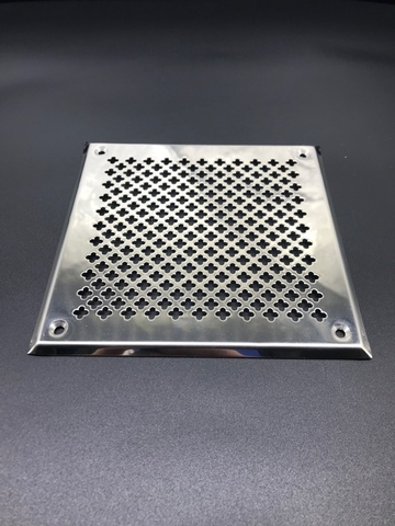 Решётка 180х250 мм, нержавеющая сталь, перфорация цветочек