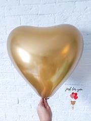 Шар сердце хром золото