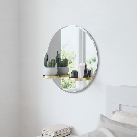 Зеркало с полочками Perch 60 см латунь
