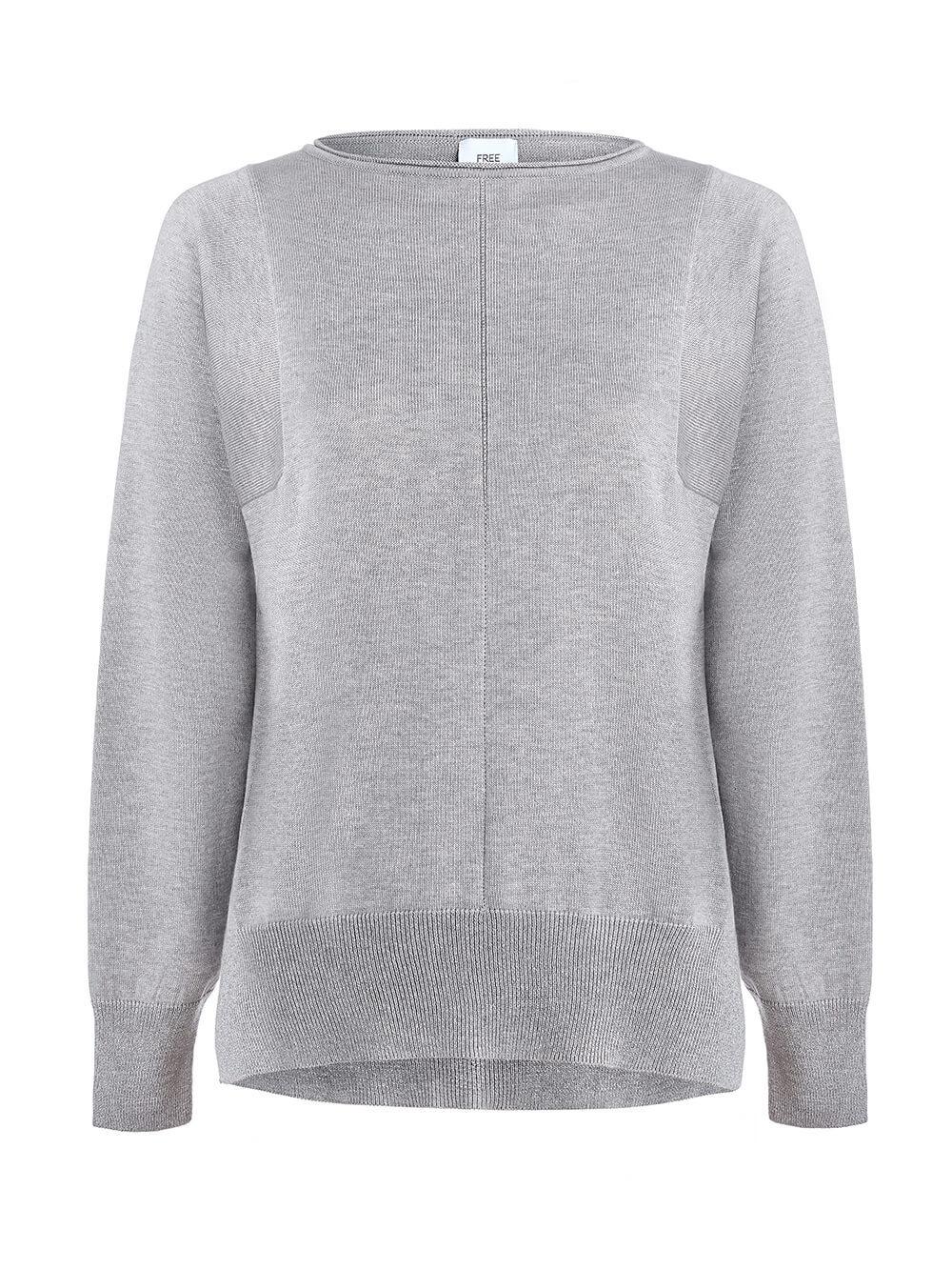Женский джемпер цвета серый меланж из шелка и кашемира - фото 1
