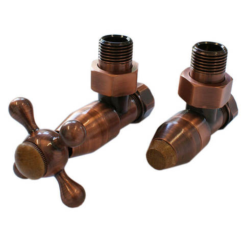 Комплект клапанов с ручной регулировкой Форма угловая Медь Антик, с деревом. Для стали GZ 1/2 x GW 1/2