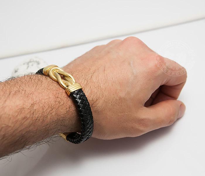 BM434-2 Крупный браслет из кожи и стали золотистого цвета (20 см) фото 07
