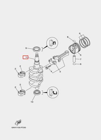 Коленвал для лодочного мотора F20 Sea-PRO (3-1)