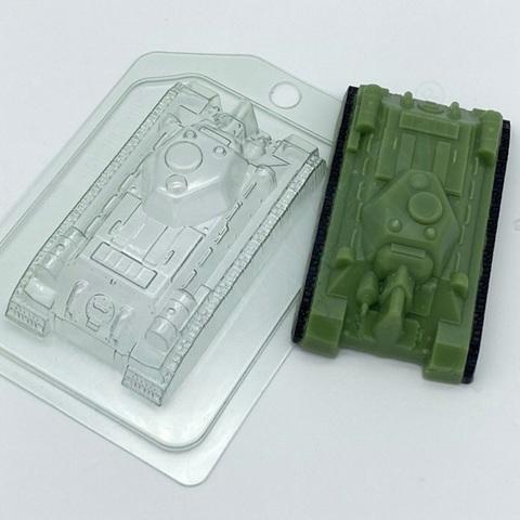 Пластиковая форма для шоколада муж. ТАНК Т34 ВИД СВЕРХУ (100х60мм)