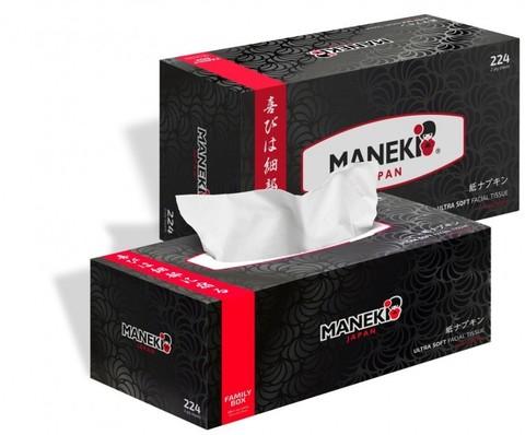 Салфетки бумажные Maneki с ароматом зеленый чай 2 слоя белые 224 шт